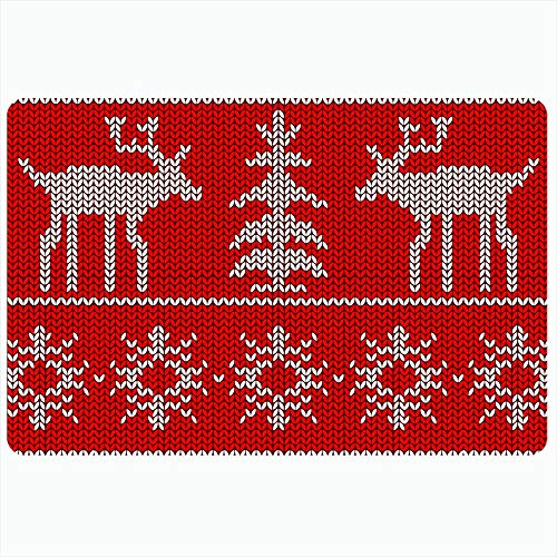 Nordic Reindeer Sweater (Ahawoso Indoor Bath Rug for Bathroom Non Slip Mats 20x32 Inch Red Jumper Christmas Redwhite Retro Nordic Reindeers Abstract Sweater Pattern Holiday Winter Star Bathing Shower Doormat Rubber)