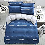 Mumgo Home Bedding Sets for Adult Lover Kids Arrow Pattern Design Duvet Cover Set Blue 100% Cotton 4 Piece Full/Queen Size without Comforter