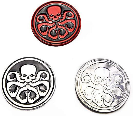 CARRUN 2PCS 3D HYDRA Skeleton Skull Octopus Animal Hot Metal Stickers Car Styling Motorcycle Accessories Badge Label Emblem Car Stickers Black-Red