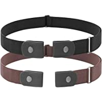 2 Pack No Buckle Free Elastic Belt for Women Men, Comfortable Adjustable Invisible Stretch Waist Belt for Jeans Shorts…