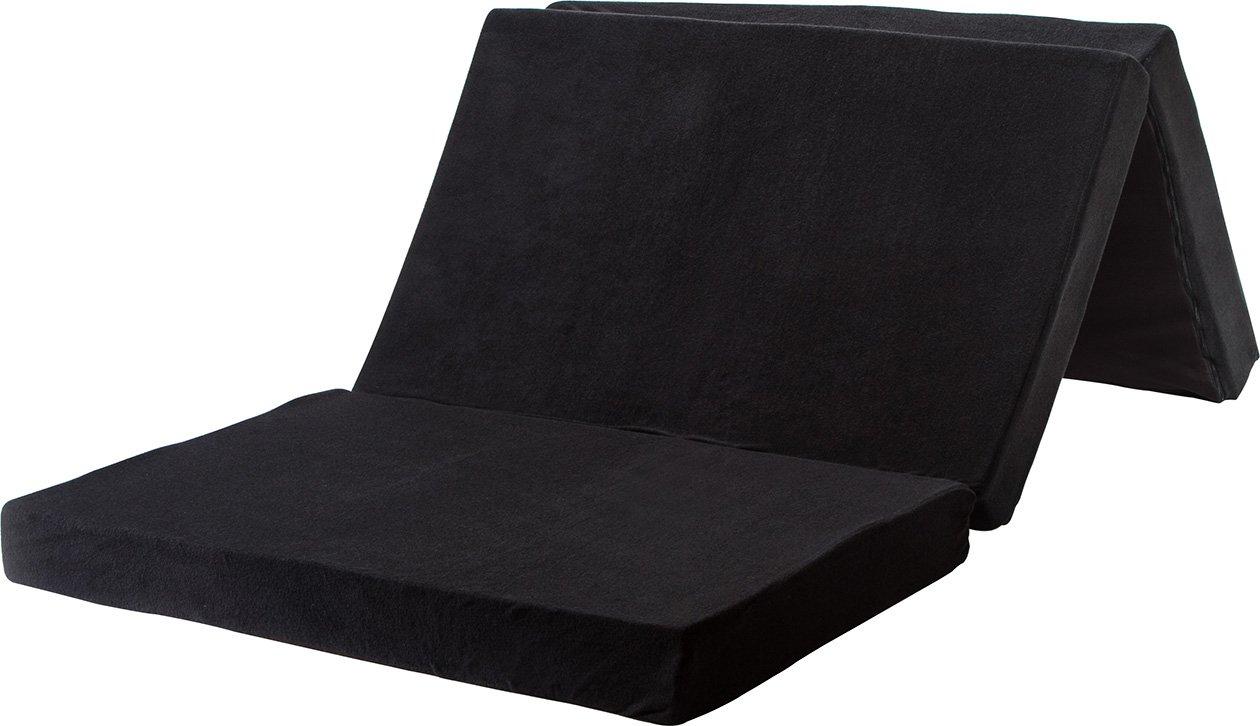 竹炭消臭 高反発 三つ折り マットレス 210N ダブル 厚み10cm 密度30D ブラック HAZ203D B01N9SFVOX