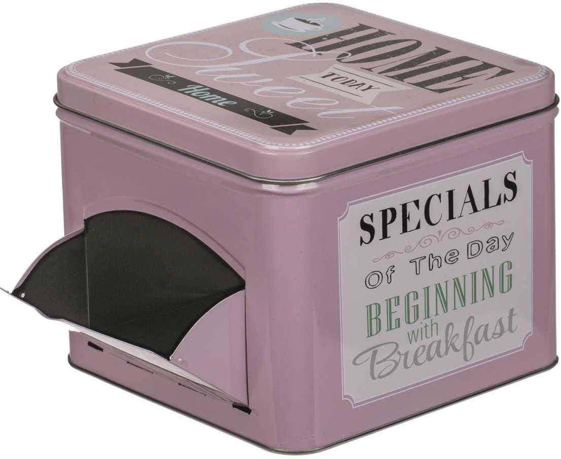 Retro Metall auch eine tolle Geschenk-Idee ideale Dose f/ür Cerealien Keksdose etc Vorratsdose rosa 12,5 x 15 x 15 cm; Blechdose mit Klappe und Aufschrift Breakfast aber auch als Bonbondose