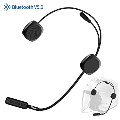 Bluetooth Headset Motorcycle, Geva Helmet Bluetooth Headset with Flexional Mic Cord for Handsfree Automatic Answer/Caller Number Broadcast/Short Press Dial Back/HD Music for Helmets User: Automotive
