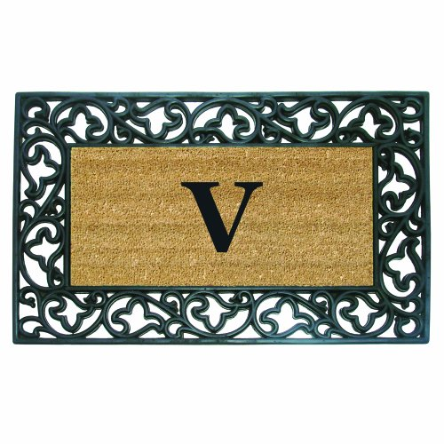 Nedia Home Acanthus Border with Rubber/Coir Doormat, 22 by 36-Inch, Monogrammed -