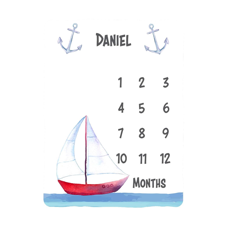 WolfeDesignPDD Sailboat Baby Boy Milestone Blanket, Baby Boy Nautical Monthly, Personalized Baby Blankie