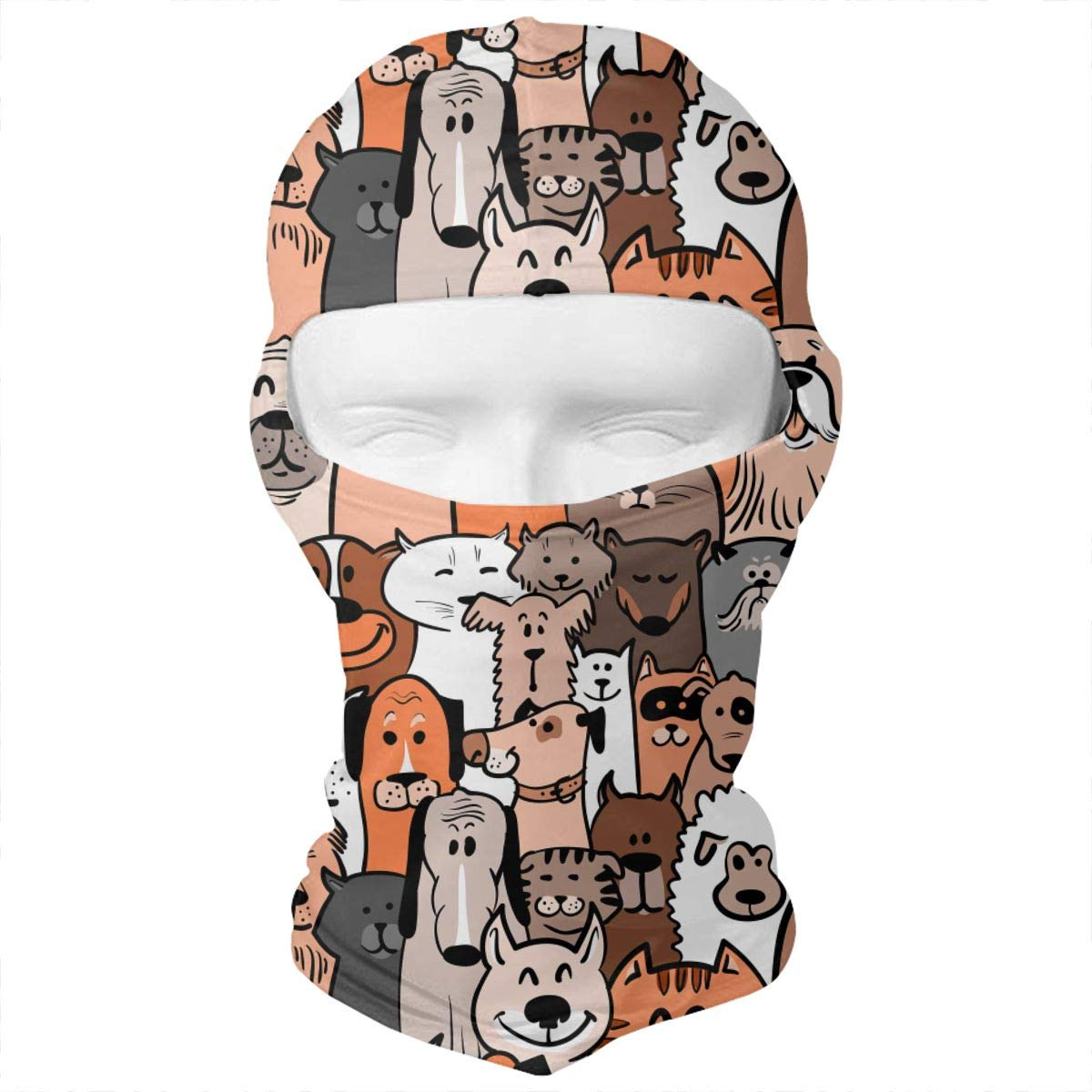 Doodle Dogs and Cats Seamless Outdoor Cycling Ski Motorcycle Balaclava Mask Sunscreen Hat Windproof Cap