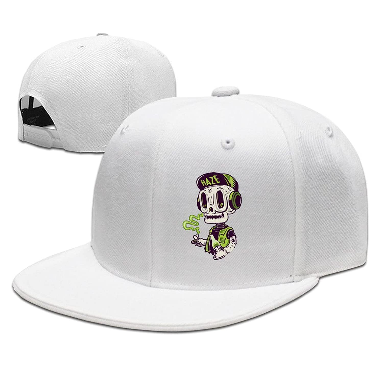 HNN Unisex Smoking Skull Flat Baseball Caps Hats