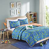 Mi Zone Kids Kyle The Crocodile Twin Bedding Sets Boys Quilt Set - Blue, Green, Animal Crocodile – 3 Piece Kids Quilt For Boys – Ultra Soft Microfiber Quilt Sets Coverlet