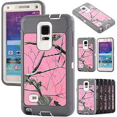 Kecko For Note 4 Best Protection Case, Heavy Duty  Realtree Camo Grass Xtra Forest Shockproof Military Grade High Impact Weather Scratch Resistant Full Body Protective Rugged Hybrid Bumper Case Cover w/ Built-in Screen Protector for Samsung Galaxy Note 4 Only--Grass/Branch/Tree on the Core (Pink Tree Gray)