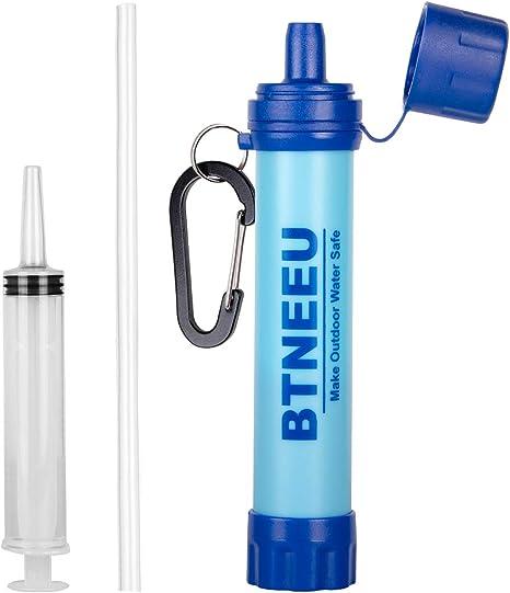 BTNEEU Filtro de Agua Portatil 1500L Filtro Agua Personal 0.01 Micron, Elimina 99.99% de Bacterias y Protozoos ...