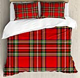 Red Plaid Duvet Cover Set King Size by Ambesonne, European Western Culture Inspired Abstract Tartan Motif Vintage Classical Design, Decorative 3 Piece Bedding Set with 2 Pillow Shams, Multicolor