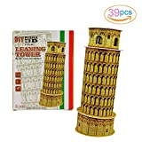 Sakiyr 39 PCS Leaning Tower of Pisa DIY 3D Puzzle Brain Teaser of Building Model Educational Toys for Kids.