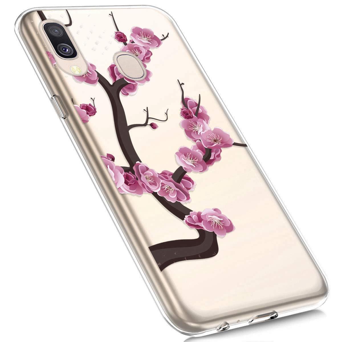 Felfy Kompatibel mit Galaxy A40 H/ülle,Kompatibel mit Galaxy A40 Handyh/ülle Transparent Silikon Schutzh/ülle Elegant Muster Ultrad/ünn Weich Gel Kristall Klar Silikonh/ülle Sto/ßfest Schlank Cover Case