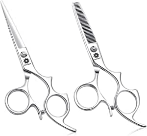 Professional 5.5 inch Hair Shears Set with Large Finger Holes, Professional Barber Thinning Shears and Hair Cutting Scissor Kit Beard Trimmer Mustache Scissor