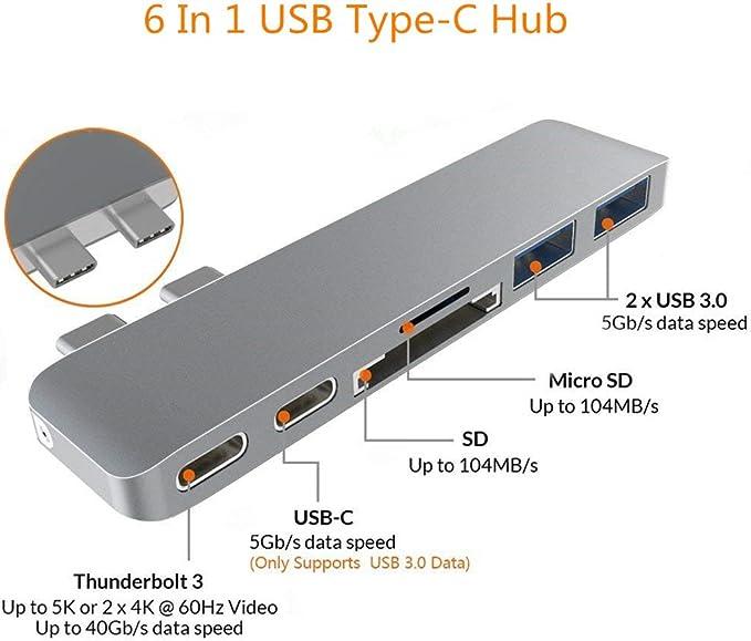 2017 2018 und MacBook Air 2019 mit PD 3.0,3 USB 3.0 Anschl/üssen grey YXwin 6 in 2 Thunderbolt 3 USB Typ C Adapter kompatibel f/ür MacBook Pro 2016 USB C Hub Macbook Pro Adapter SD TF Kartenleser
