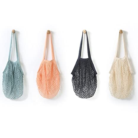 Bolsa de la compra reutilizable de red de algodón, sirve como bolso o bolsa para frutas, 4 unidades, de YEKEYI