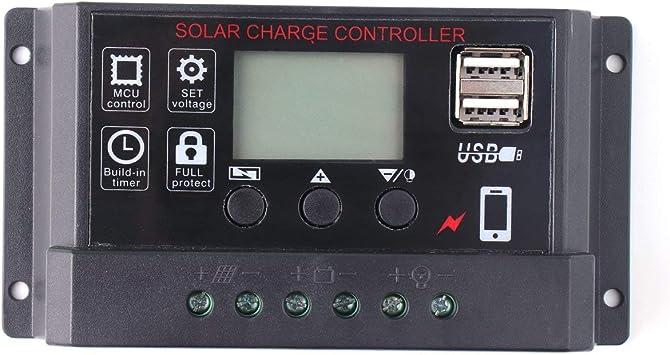 LCD 30 A Panneau solaire batterie régulateur charger contrôleur 12//24V auto PWM One USB ;