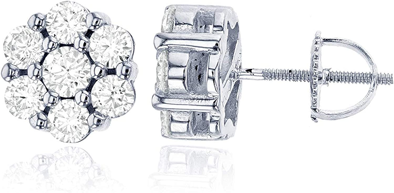 Sterling Silver Cubic Zirconia Round Cluster ScrewBack Stud Earrings