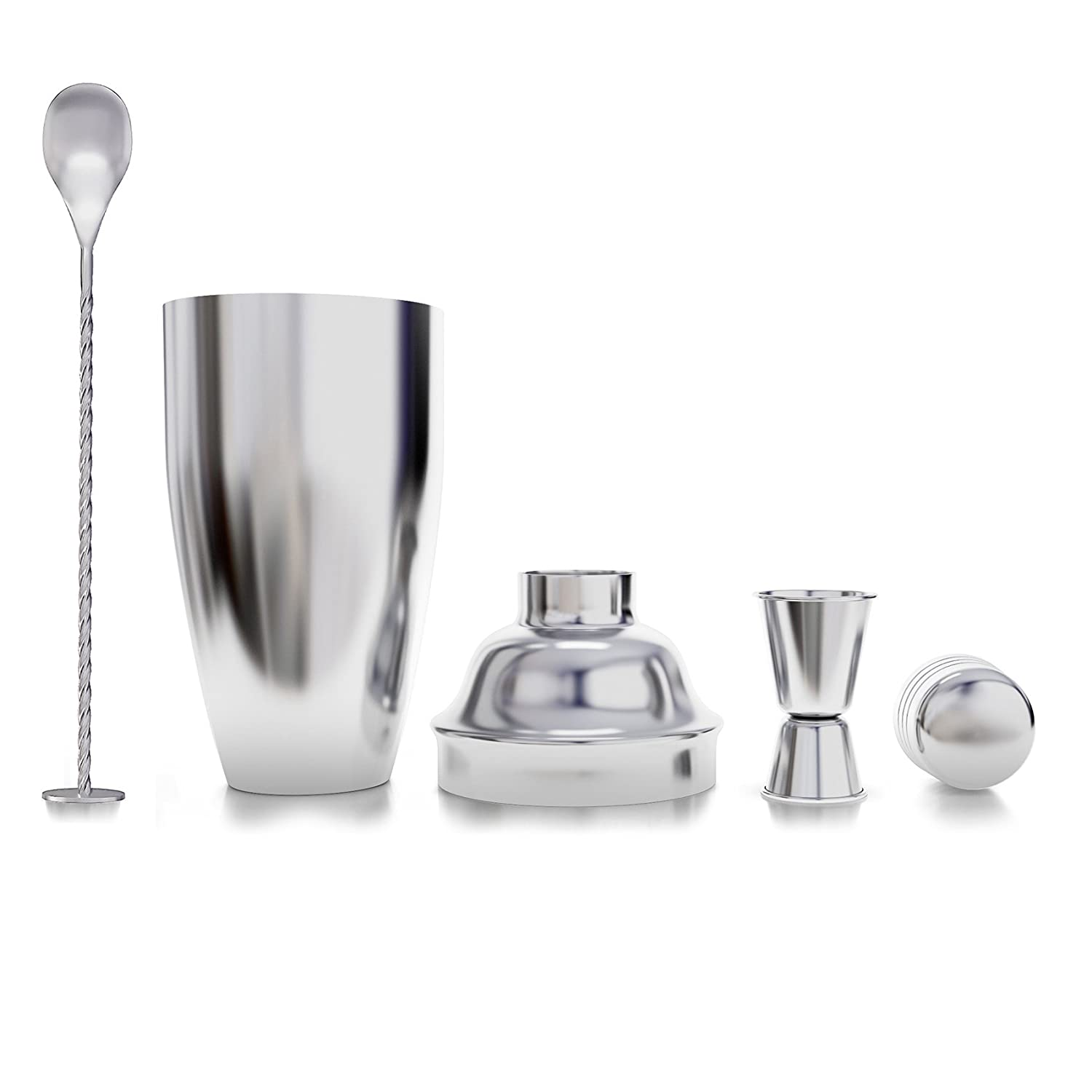 24 Ounce Cocktail Shaker Martini Kit with Measuring Jigger and Mixing Spoon
