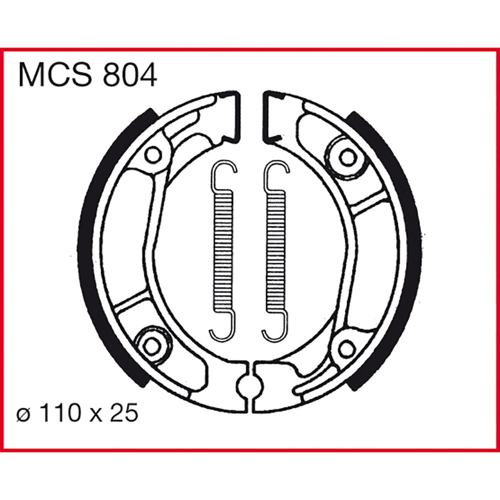 Machoires de freins Lucas MCS804 pour Honda CB 125 J CB125J | Honda CB 50 J CB50J | Honda CLR 125 Cityfly JD18 | Honda CR 80 R HE02 | Honda CR 80 R HE04 | Honda CRM 75 CRM | Honda MB 50 S AC0 TRW Lucas