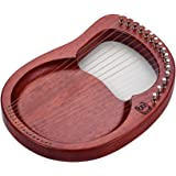 Muslady 16弦木製ライアーハープ 金属弦 マホガニーソリッドウッド 弦楽器 キャリングバッグチューニングレンチクリーニングクロスストリング付き WH16