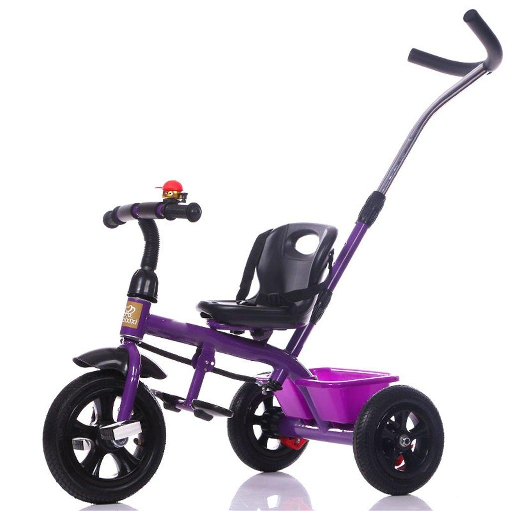 BZEI-BIKE Dreirad Kinderwagen Fahrrad Kind Spielzeugauto Aufblasbares Rad Schaum Rad Fahrrad 3 Räder, Lila (Junge Mädchen, 1-3-5 Jahre Alt) Kinderspielzeug