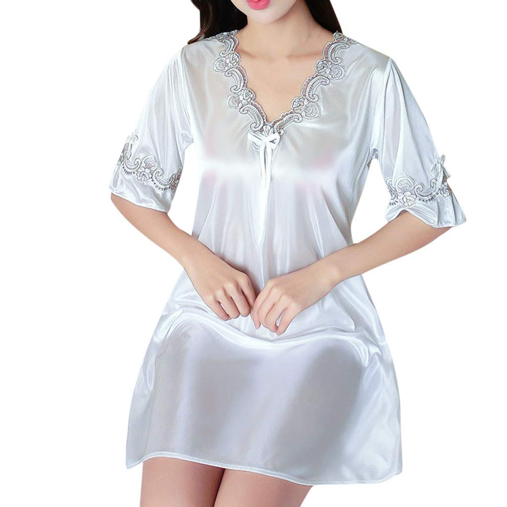 Pervobs Women's Pure Color Short Satin Short Sleeve V-Neck Nightdress Sexy Loose Soft Silk Satin Pajamas Dress Lingerie(Free Size, White) by Pervobs Lingerie & Sleepwear (Image #1)