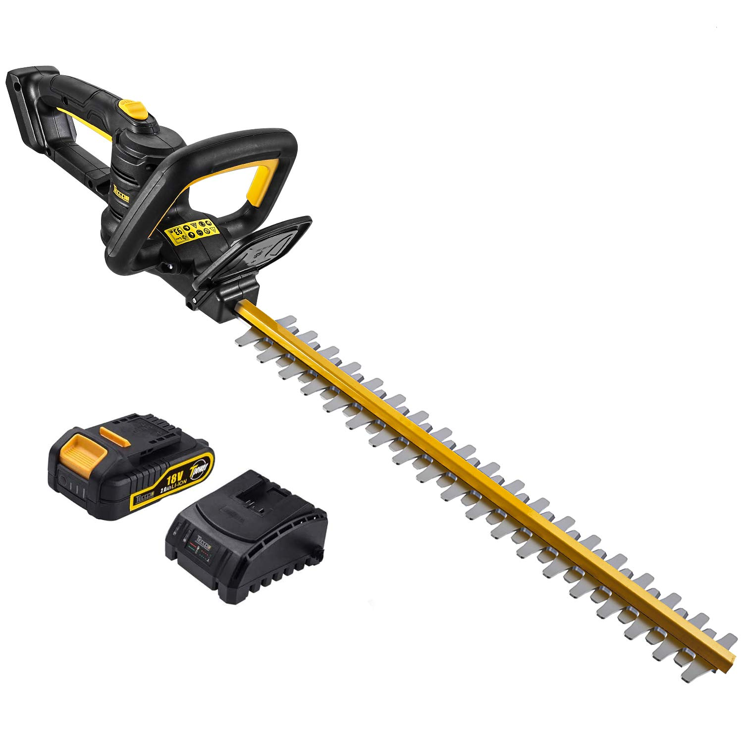 TECCPO Hedge Trimmer, Cordless Hedge Trimmer, 18V 2.0 Ah, with Battery and Charger, 520mm Blade Length, 18mm Cutting Gap, Dual Action Laser Blade & Diamond-ground Blades -TDHT02G