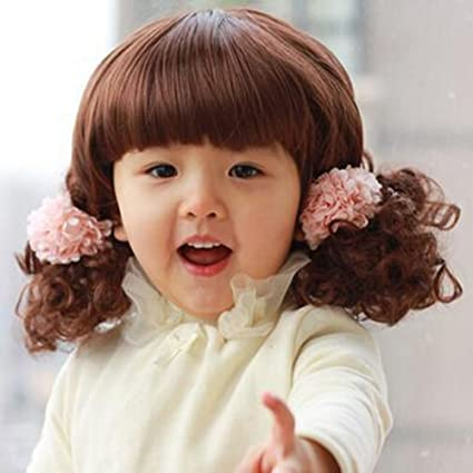 Lovely infantiles binarytech Spritech™ esponjoso realista cortocicuitos fibra ondulado peluca de pelo rizado peluca sintética