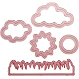 Sweet Elite Tools - Nature Cutter Set- Sun, Clouds, Grass, Fire - for rolled fondant, gumpaste or cookies - By Autumn Carpenter