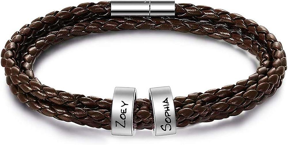 Yofair Custom Family Name Bracelet Personalized Men's Braided Leather Bracelet Engrave Name Bangle Bracelet for Men Women