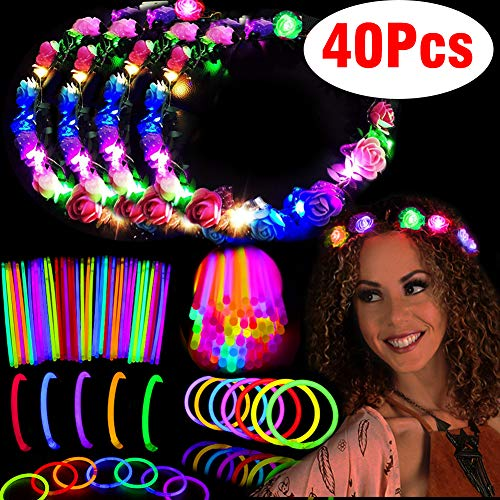 Glow Party Pack Favors Glow in The Dark Party Supplies-36 Glow Sticks Bulk with Connector for Glow Necklaces and Bracelets, 4 Light up Flower Crowns Headpiece for Kids Women Girls Adult(40p)