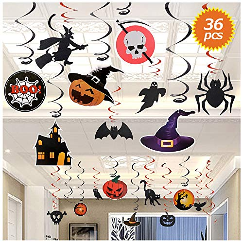 SILVIA 36Pcs Halloween Swirl Ceiling Hanging Decoration Window and Door Decoration Witch Bat Pumpkin Spider Skull Halloween Home Decorations for Party\Kids Room\Bar