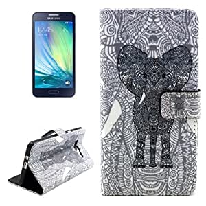 Elephant Pattern Colored Drawing Leather Funda con Holder Case Cover & & Wallet bolsillos internos para Samsung Galaxy A3 A300F