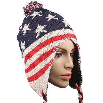 Amazon.com  USA Patriotic American Flag Cuffed Chullo Cap Beanie Knit  Winter Stocking Hat 5  Sports   Outdoors 9f9585c1c6d