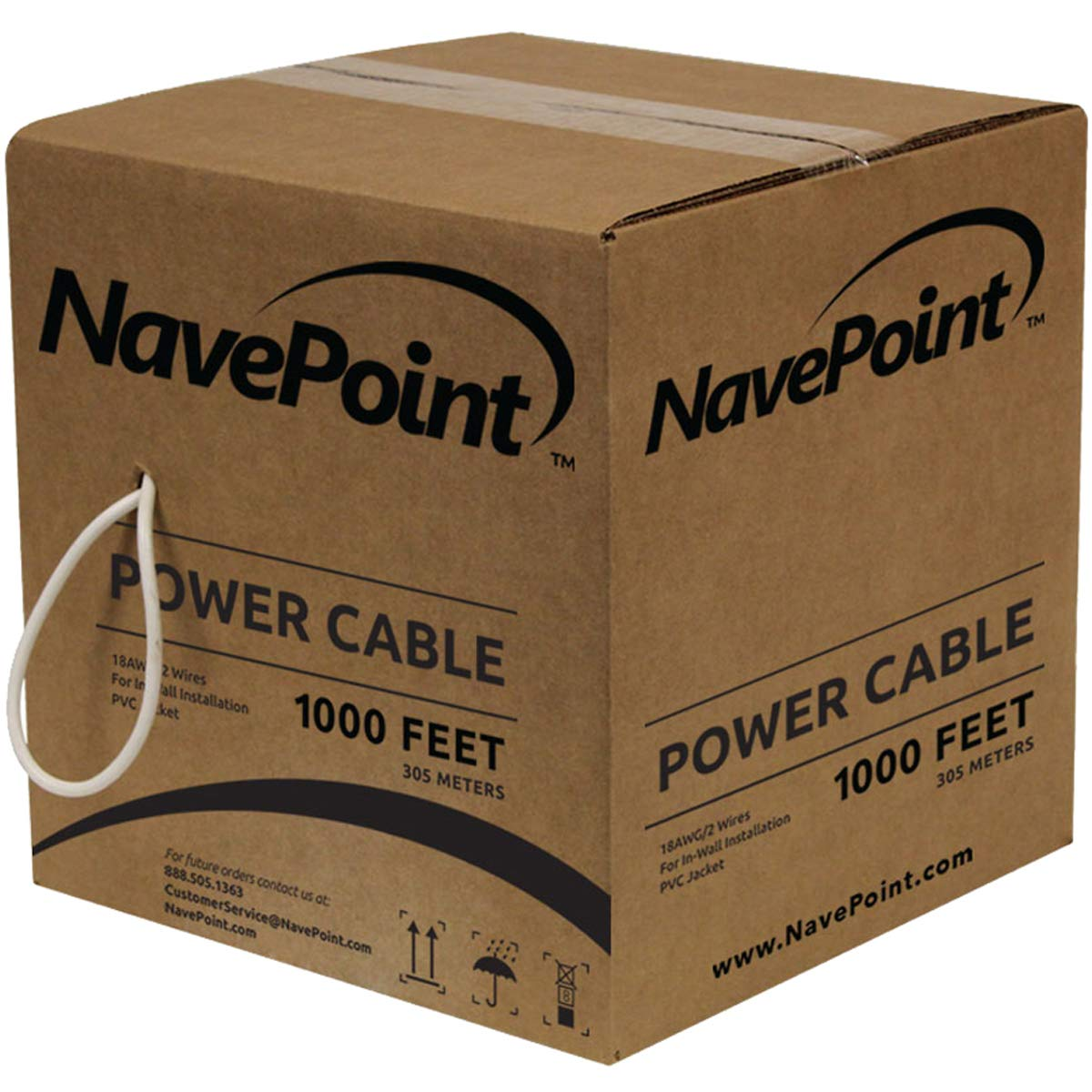 NavePoint 1000ft in Wall Power Cable Spool 18AWG 18/2 CCTV Bulk Security Camera Power CCA White by NavePoint