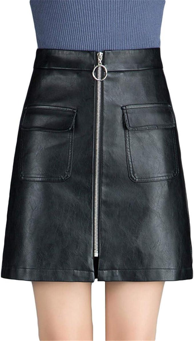 Xiuy Bonitos Sencillos Skirt Cuero Mini Falda Elegante Sexy Faldas ...