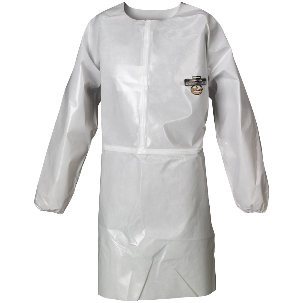 Lakeland ChemMax 2 Taped Seam Long Sleeve Apron, Disposable, Elastic Cuff, 2X-Large, White (Case of 12)