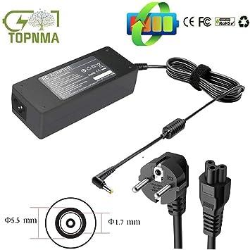 Topnma Adaptador Cargador Nuevo y Compatible para Portátiles Acer Aspire Series de 19V 4.74A 90W o Menos con Punta 5,5mm x 1,7mm