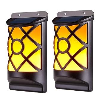 Lámpara de Pared de Llama WZTO LED Sensor de Luz Lámpara de Llamas Impermeable Lámparas Solares