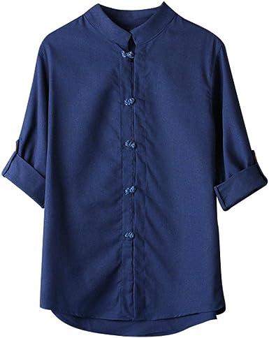 Blusas de Hombre Tallas Grandes, Hombres Camisa clásica de Estilo Chino de Kung Fu Tops Tang Traje 3/4 Manga Blusa: Amazon.es: Ropa y accesorios