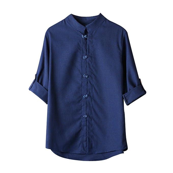 Camisas Hombre clásico Kung Fu Tops Blusa de Lino de Manga 3/4 Camiseta de Hippie tailandesa Cuello en V de Playa Yoga Blusa de Arriba Modaworld: Amazon.es: ...