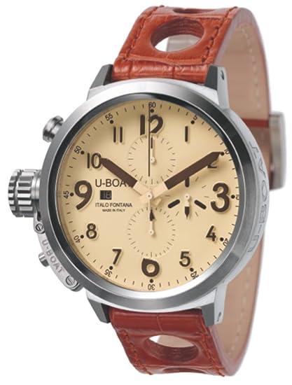 U-Boat UBOAT-7119 - Reloj para hombres, correa de cuero color marrón