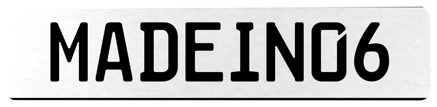 Vintage Parts 555494 MADEIN06 White Stamped Aluminum European License Plate