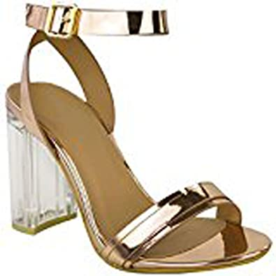 a3f24b3d0a4711 Womens Ladies Perspex Block High Heels Clear Sandals Celeb Ankle Strappy  Size UK