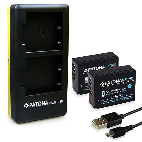 PATONA Dual Cargador con Micro USB y 2X Batería NP-W126 para Fuji FinePix X-Pro 1, HS30 EXR, HS33 EXR, X-T3, X-T20, X-H1