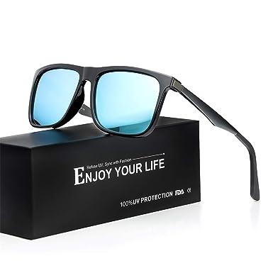 2bd7a6ece82 TJUTR Mens Sunglasses for Driving Polarised Lens Metal Temple Classic  Eyewear 100% UV Protection (Black Blue Mirrored)  Amazon.co.uk  Clothing