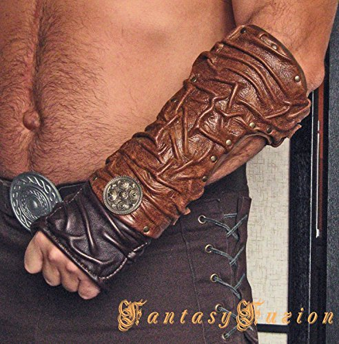 Medieval Gladiator Spartacus Forearm Warrior Armor Single Leather Bracer with Concho
