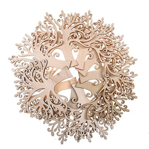 Laser Cut Shapes - Buytra 10 Pack Blank Wooden Tree Cutout Embellishments for DIY Craft Supplies Wedding Christmas Ornaments