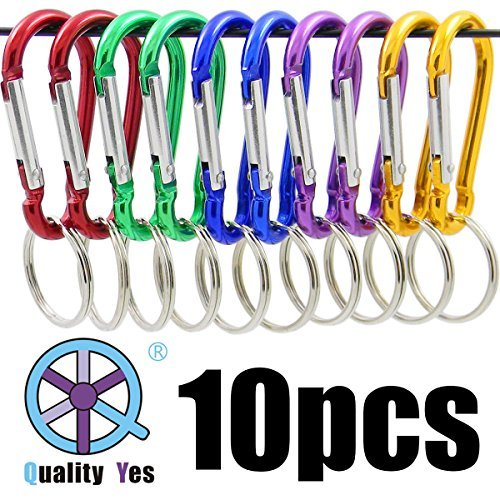 QY 10Pack 1.91 Inch Long Colored 8 Shape Spring Snap Hook Rings Aluminum Alloy Keychain Clip Buckle With Keyring by Qualtiy Yes